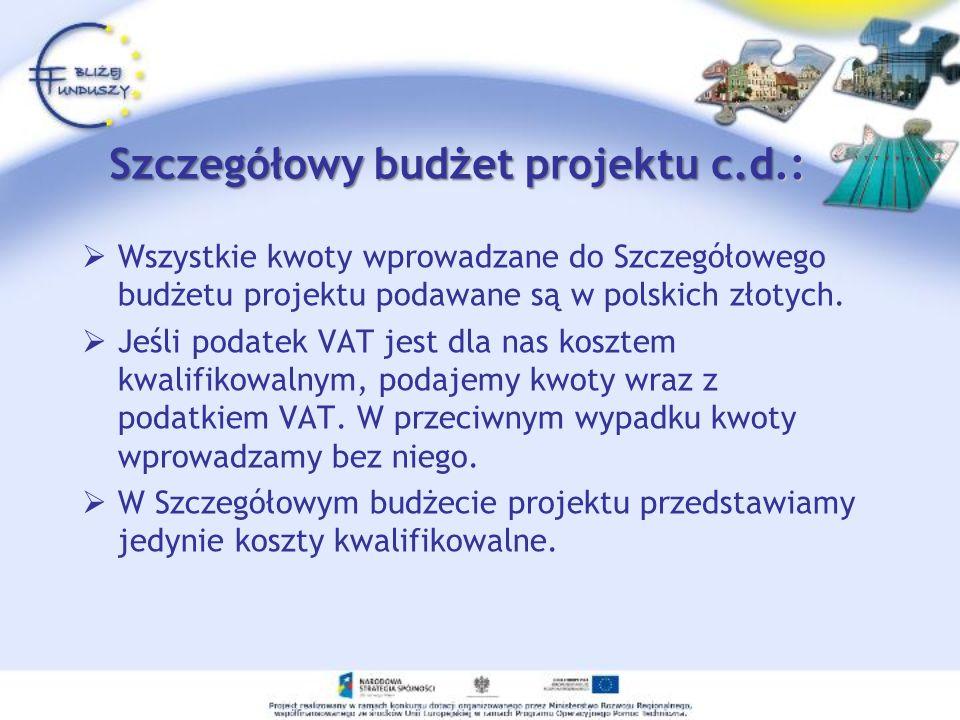 Szczegółowy budżet projektu c.d.: