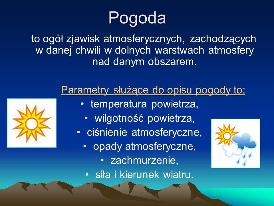 Pogoda to ogół zjawisk atmosferycznych, zachodzących w danej chwili w dolnych warstwach atmosfery nad danym obszarem.