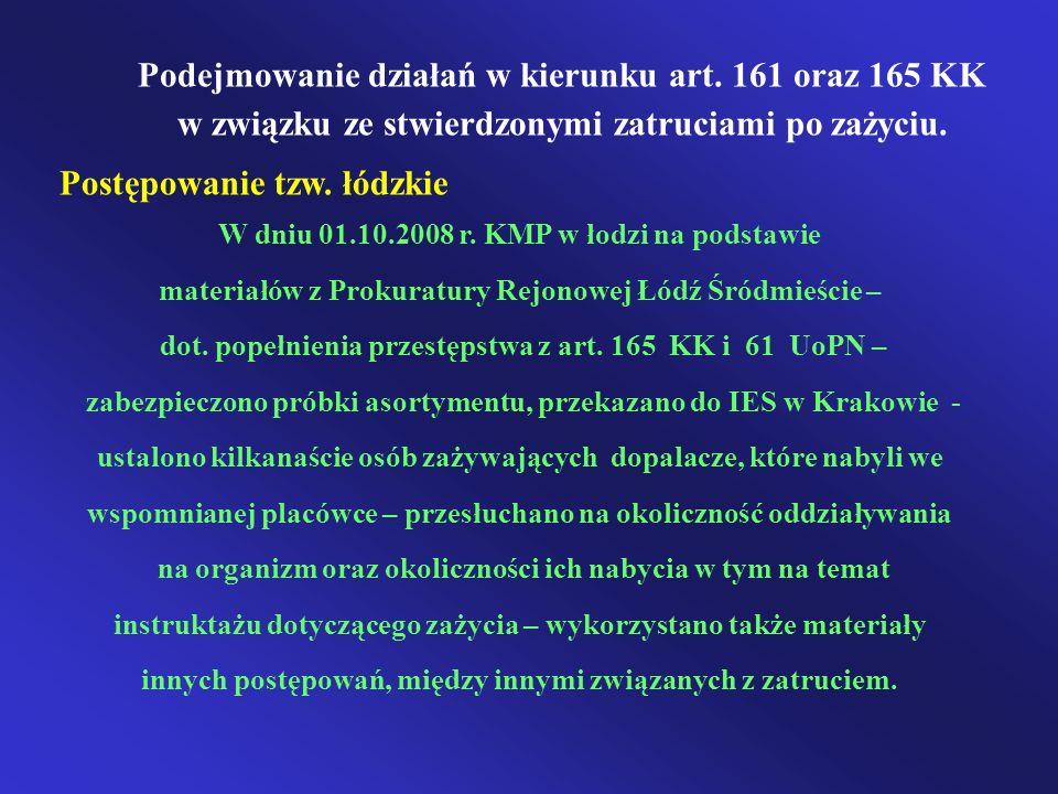 Podejmowanie działań w kierunku art. 161 oraz 165 KK