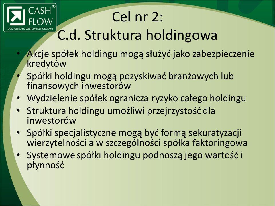 Cel nr 2: C.d. Struktura holdingowa