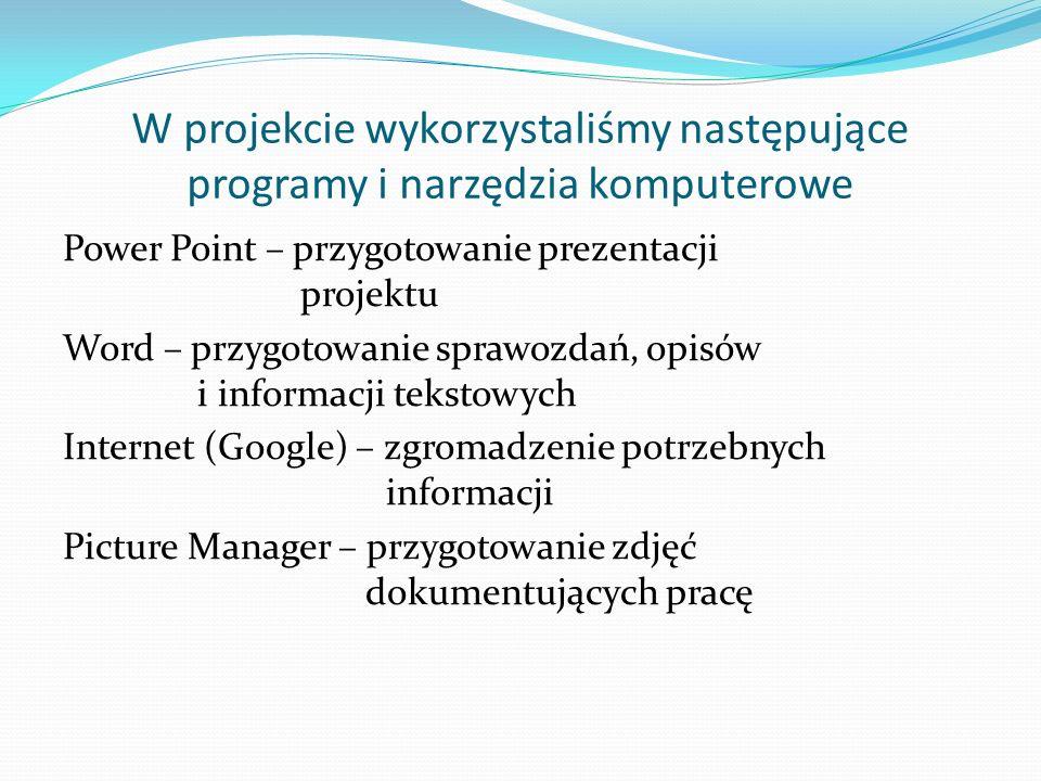 W projekcie wykorzystaliśmy następujące programy i narzędzia komputerowe