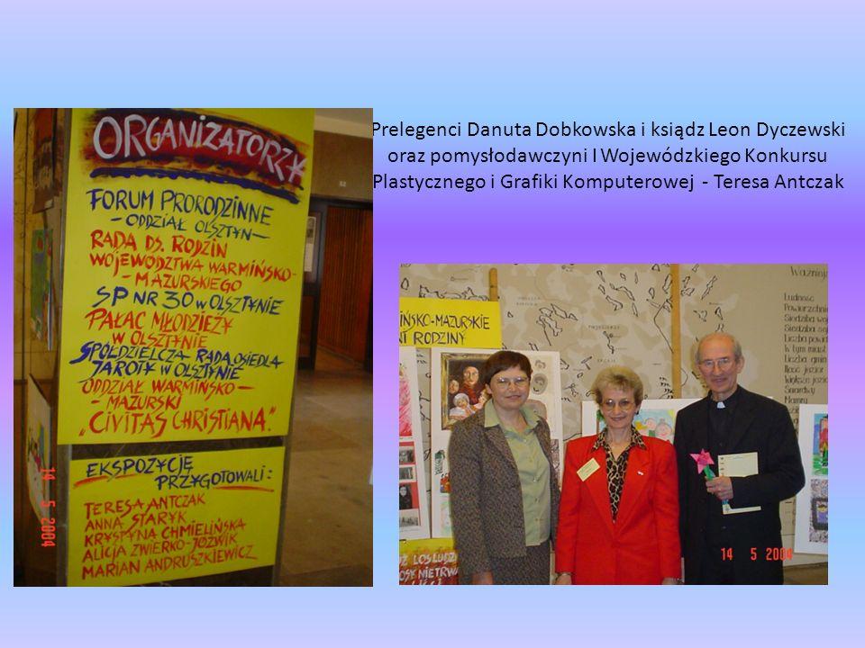 Prelegenci Danuta Dobkowska i ksiądz Leon Dyczewski oraz pomysłodawczyni I Wojewódzkiego Konkursu Plastycznego i Grafiki Komputerowej - Teresa Antczak
