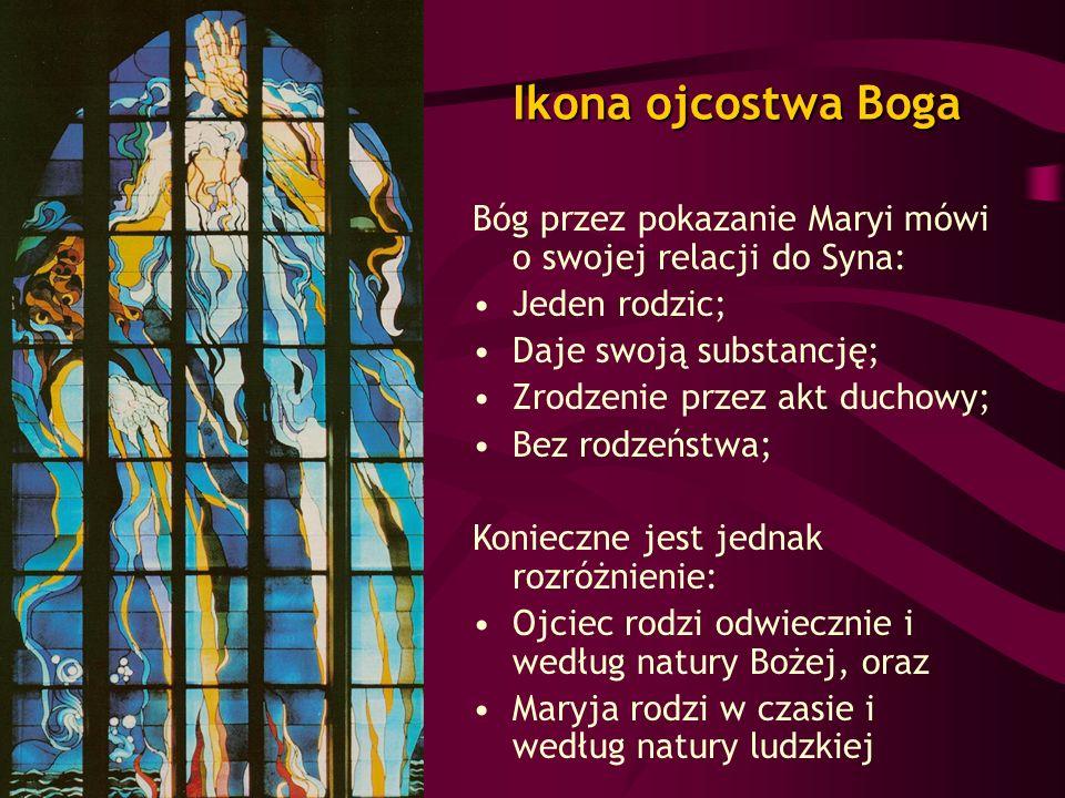 Ikona ojcostwa Boga Bóg przez pokazanie Maryi mówi o swojej relacji do Syna: Jeden rodzic; Daje swoją substancję;
