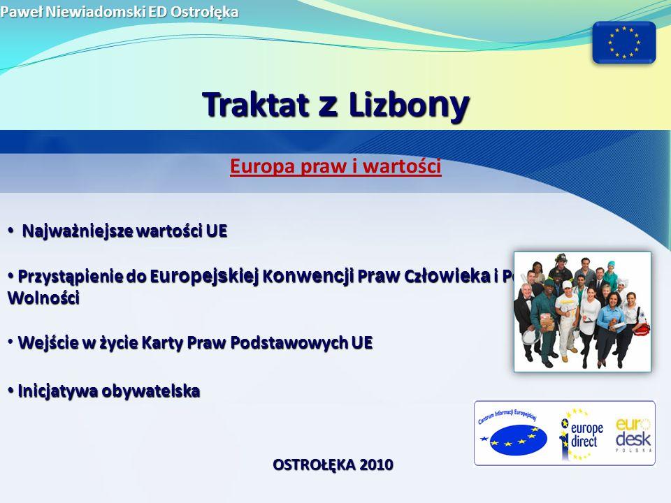 Traktat z Lizbony Europa praw i wartości Najważniejsze wartości UE
