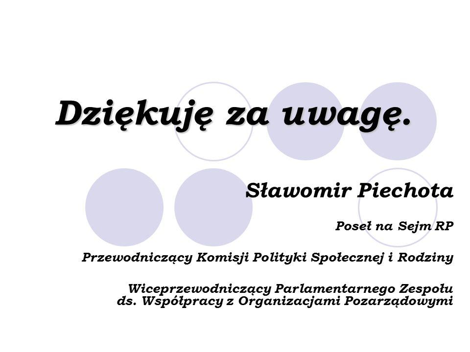 Dziękuję za uwagę. Sławomir Piechota Poseł na Sejm RP