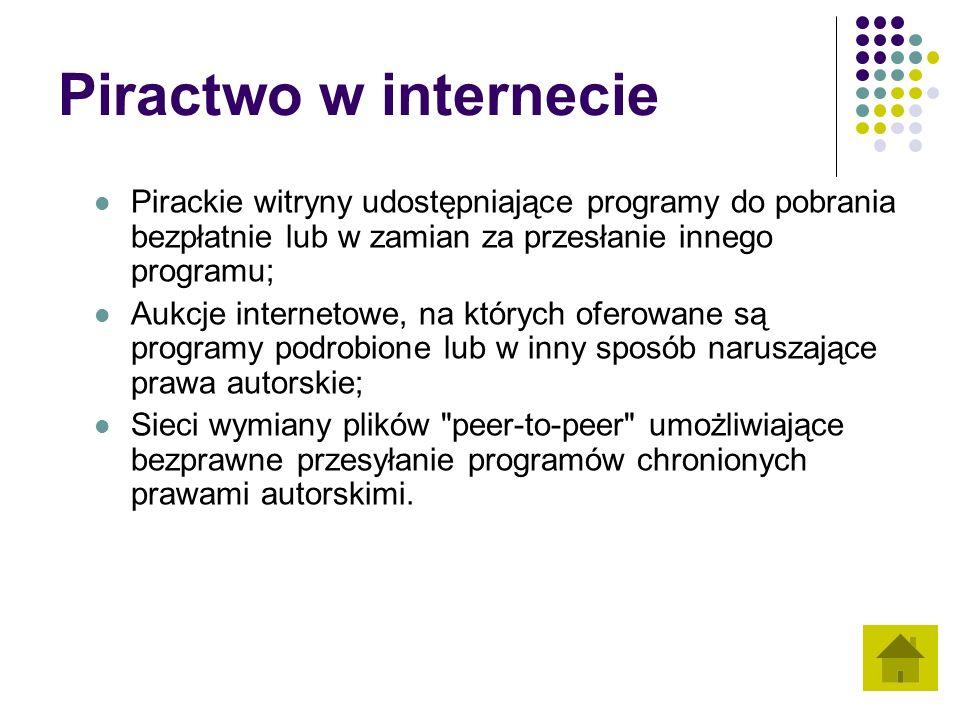 Piractwo w internecie Pirackie witryny udostępniające programy do pobrania bezpłatnie lub w zamian za przesłanie innego programu;