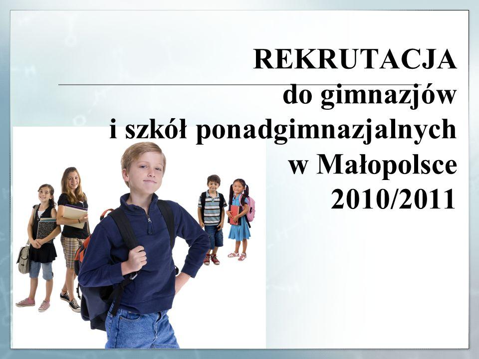 REKRUTACJA do gimnazjów i szkół ponadgimnazjalnych w Małopolsce 2010/2011