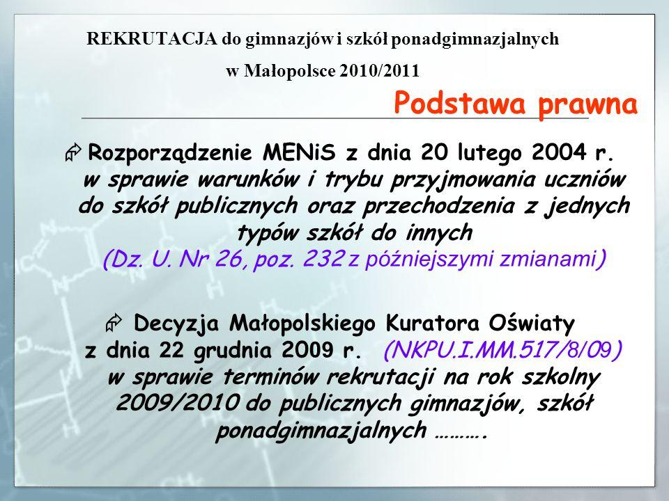 REKRUTACJA do gimnazjów i szkół ponadgimnazjalnych w Małopolsce 2010/2011 Podstawa prawna