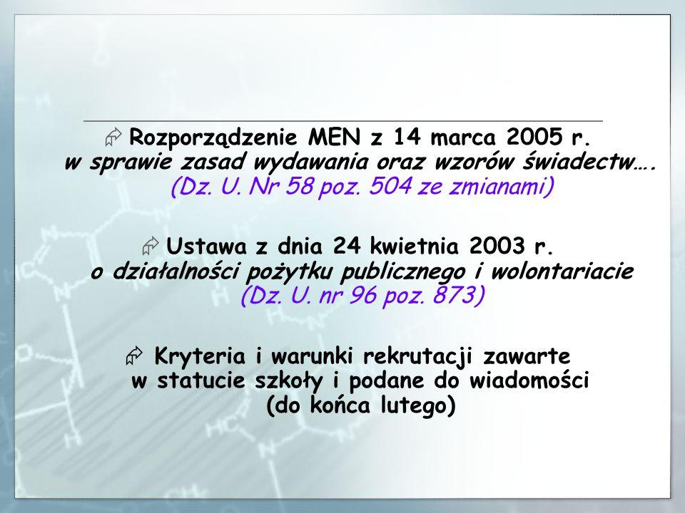 Rozporządzenie MEN z 14 marca 2005 r