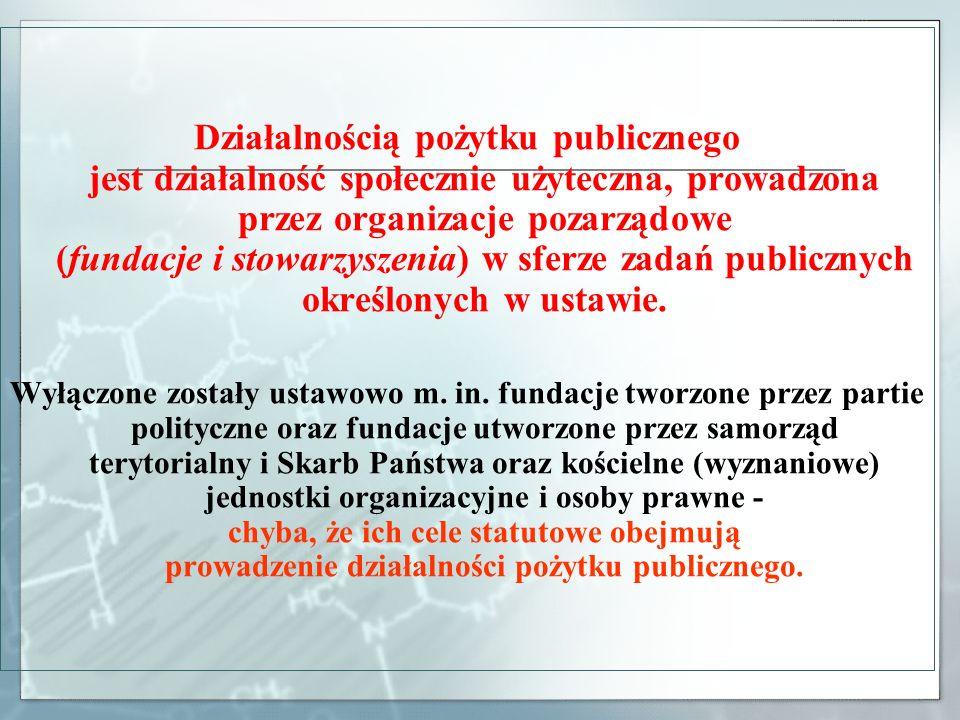 Działalnością pożytku publicznego jest działalność społecznie użyteczna, prowadzona przez organizacje pozarządowe (fundacje i stowarzyszenia) w sferze zadań publicznych określonych w ustawie.