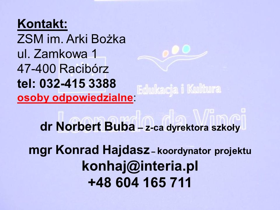 dr Norbert Buba – z-ca dyrektora szkoły