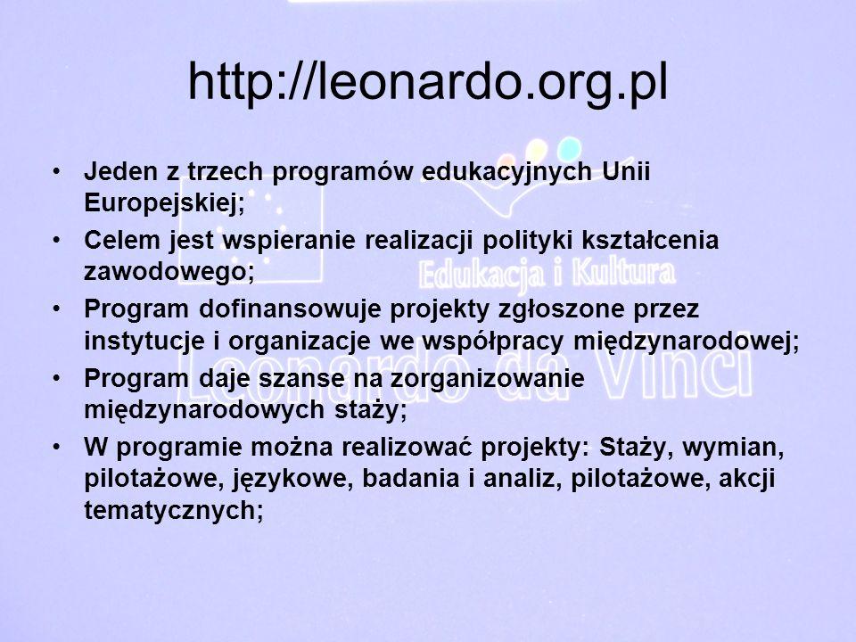 http://leonardo.org.pl Jeden z trzech programów edukacyjnych Unii Europejskiej; Celem jest wspieranie realizacji polityki kształcenia zawodowego;