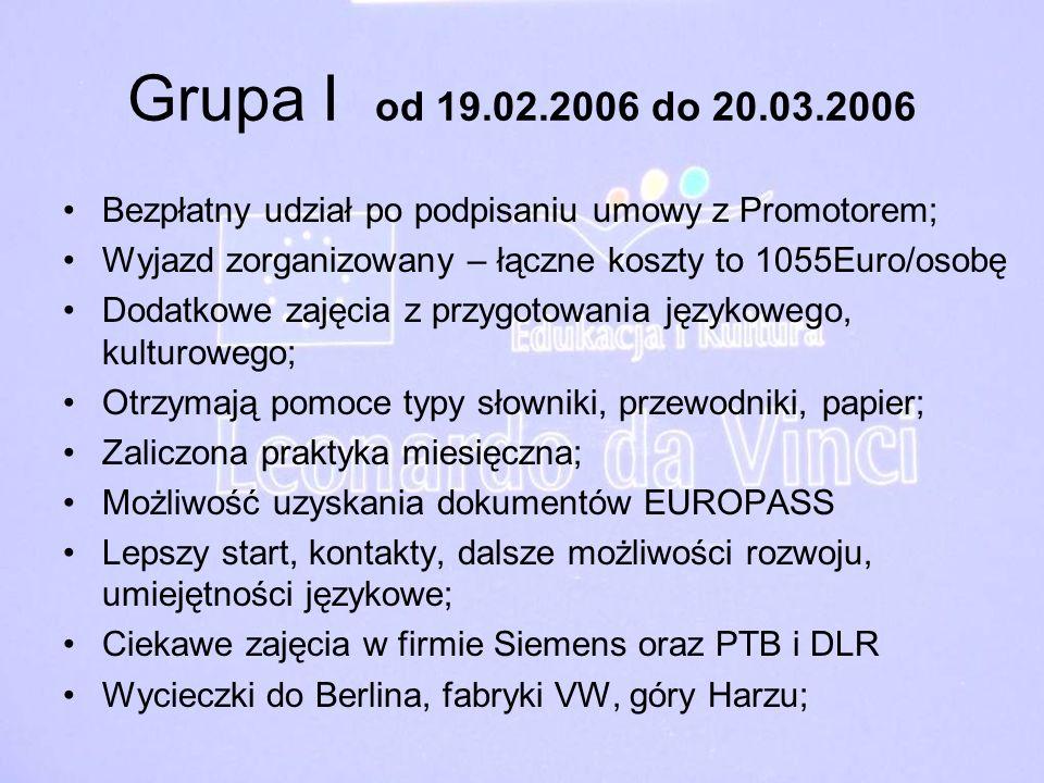 Grupa I od 19.02.2006 do 20.03.2006Bezpłatny udział po podpisaniu umowy z Promotorem; Wyjazd zorganizowany – łączne koszty to 1055Euro/osobę.