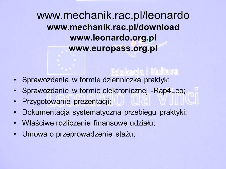 www. mechanik. rac. pl/leonardo www. mechanik. rac. pl/download www