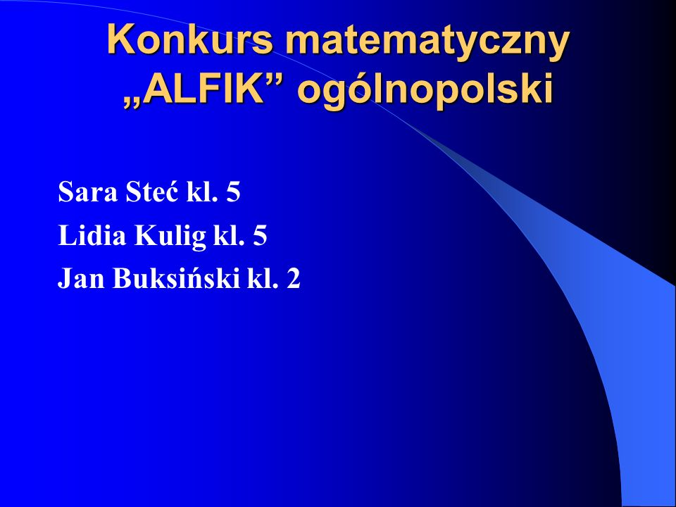"""Konkurs matematyczny """"ALFIK ogólnopolski"""