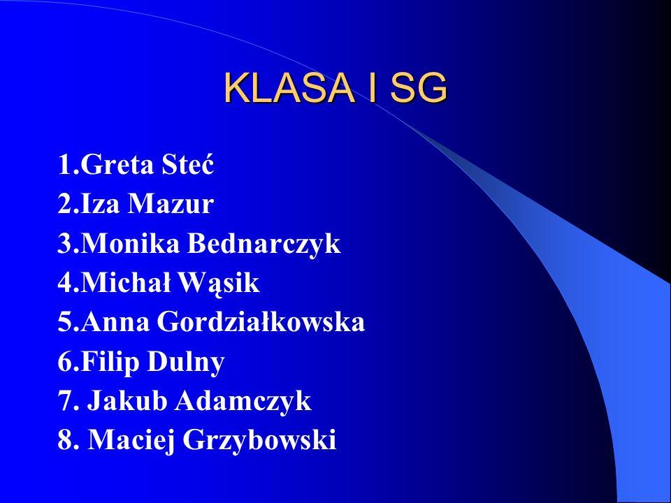 KLASA I SG 1.Greta Steć 2.Iza Mazur 3.Monika Bednarczyk 4.Michał Wąsik