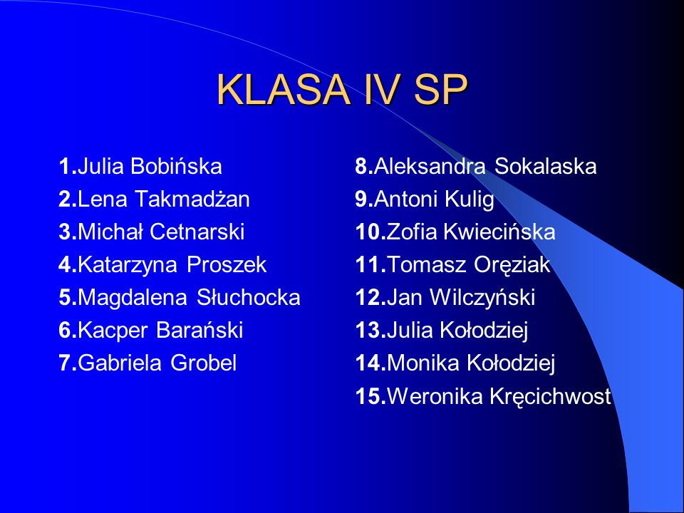 KLASA IV SP 1.Julia Bobińska 2.Lena Takmadżan 3.Michał Cetnarski