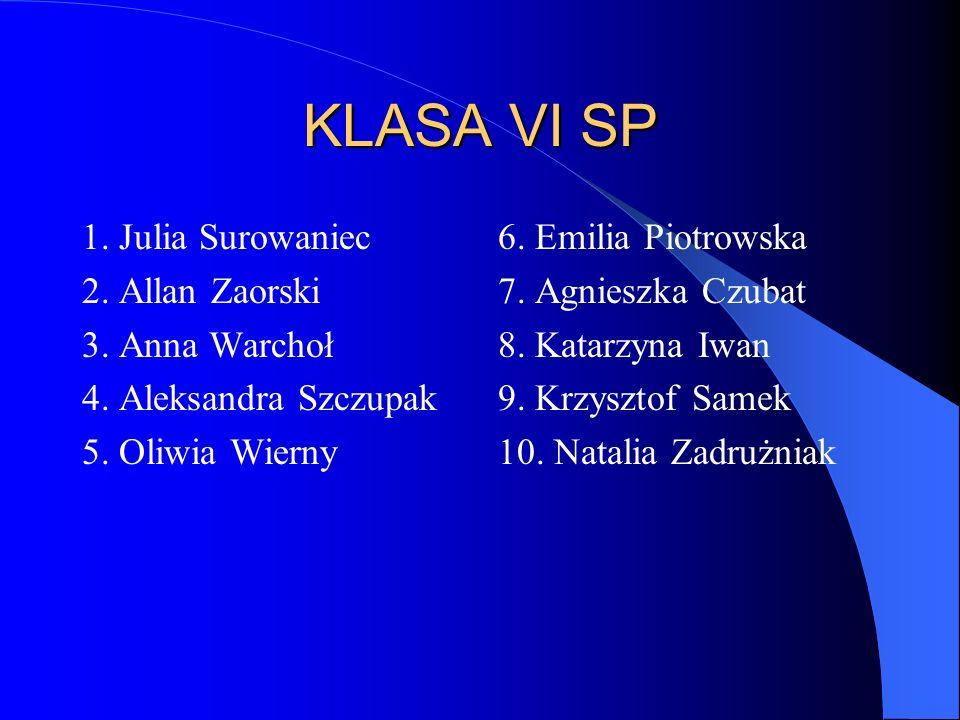 KLASA VI SP 1. Julia Surowaniec 2. Allan Zaorski 3. Anna Warchoł