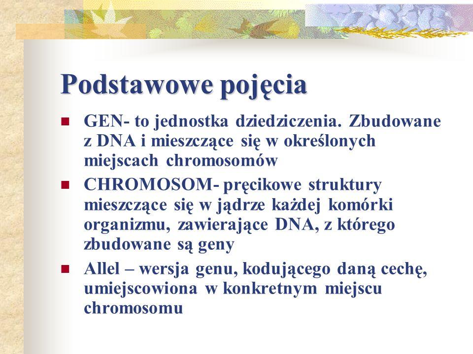 Podstawowe pojęcia GEN- to jednostka dziedziczenia. Zbudowane z DNA i mieszczące się w określonych miejscach chromosomów.