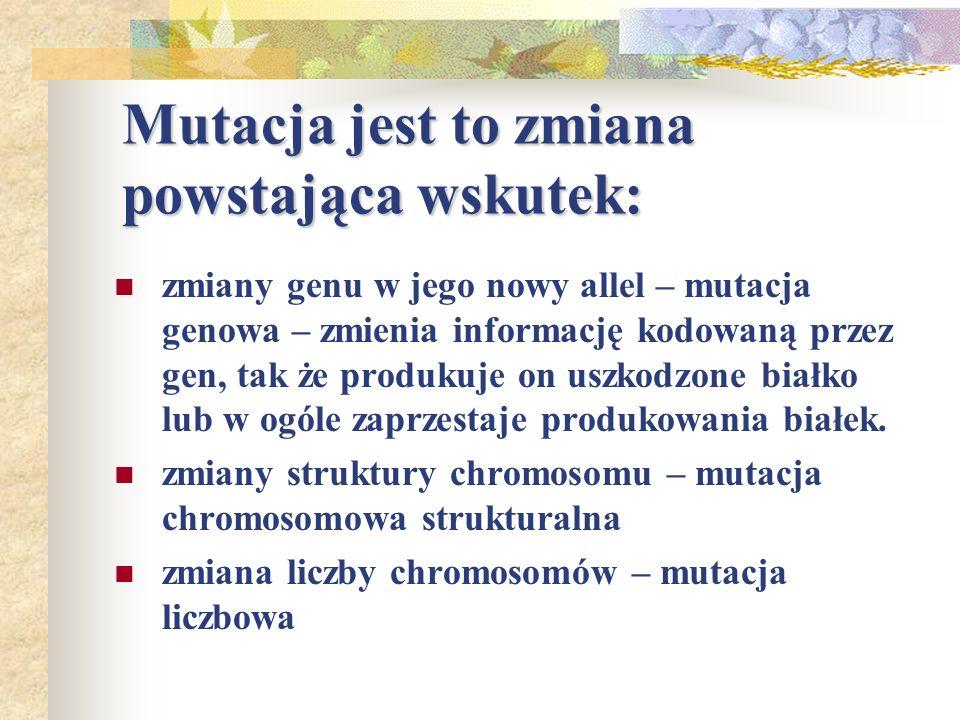 Mutacja jest to zmiana powstająca wskutek: