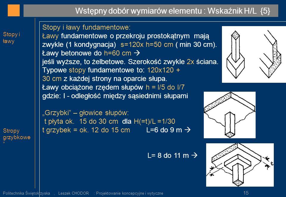 Wstępny dobór wymiarów elementu : Wskaźnik H/L {5}