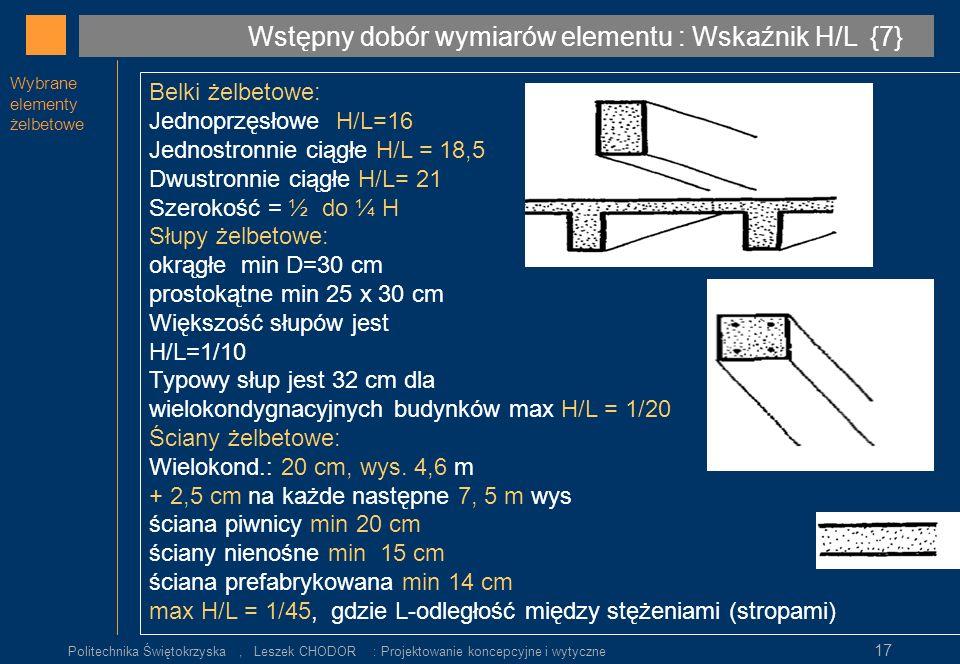 Wstępny dobór wymiarów elementu : Wskaźnik H/L {7}