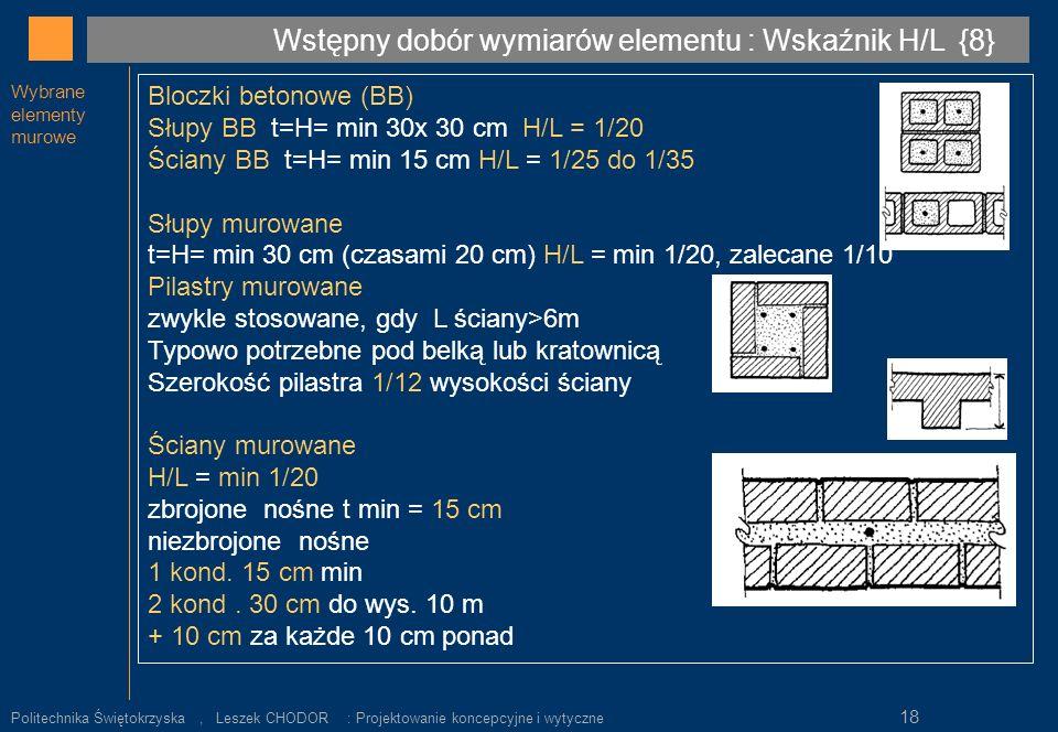 Wstępny dobór wymiarów elementu : Wskaźnik H/L {8}