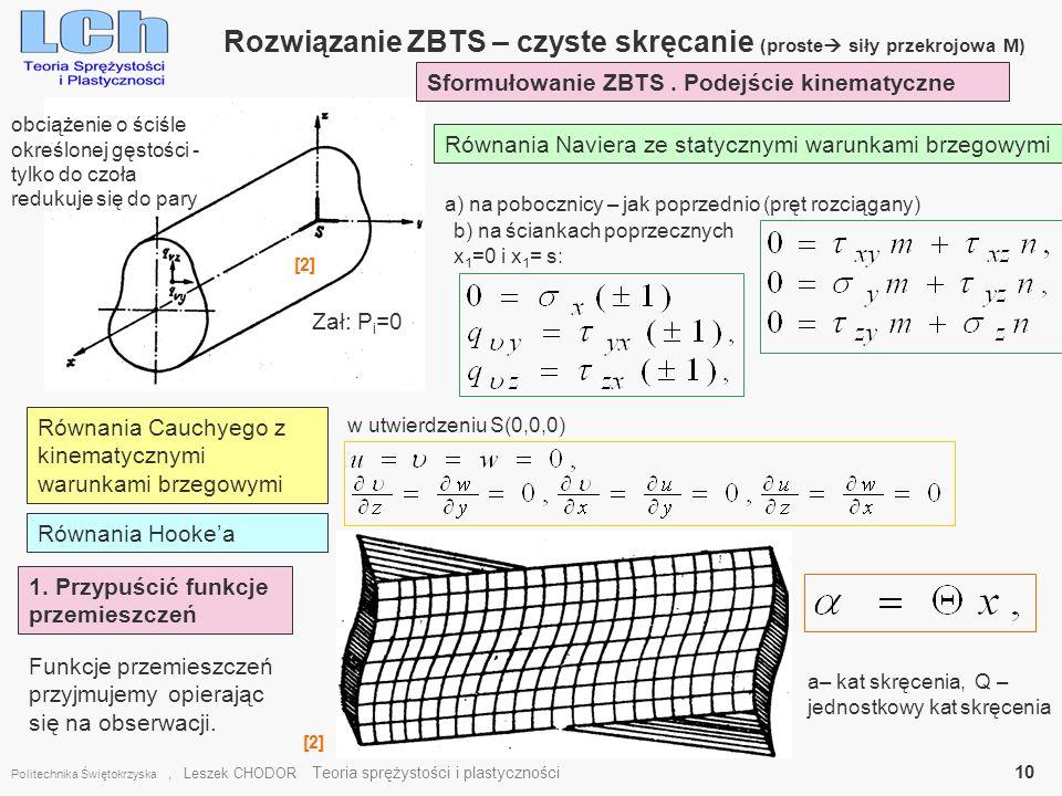 Rozwiązanie ZBTS – czyste skręcanie (proste siły przekrojowa M)