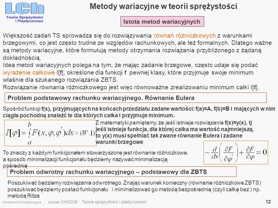 Metody wariacyjne w teorii sprężystości