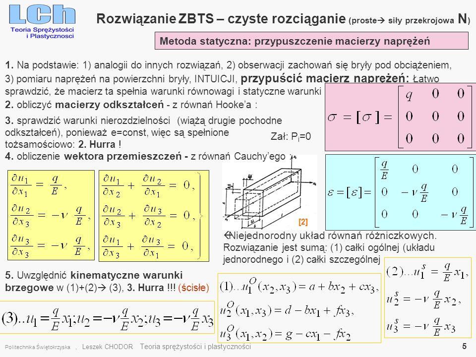 Rozwiązanie ZBTS – czyste rozciąganie (proste siły przekrojowa N)