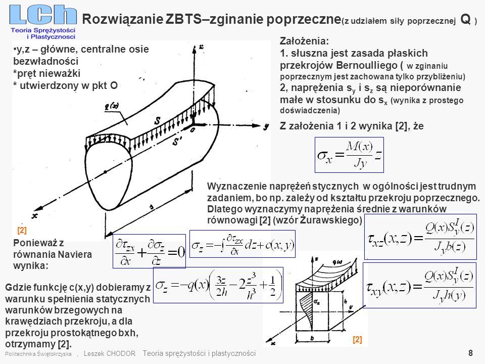 Rozwiązanie ZBTS–zginanie poprzeczne(z udziałem siły poprzecznej Q )