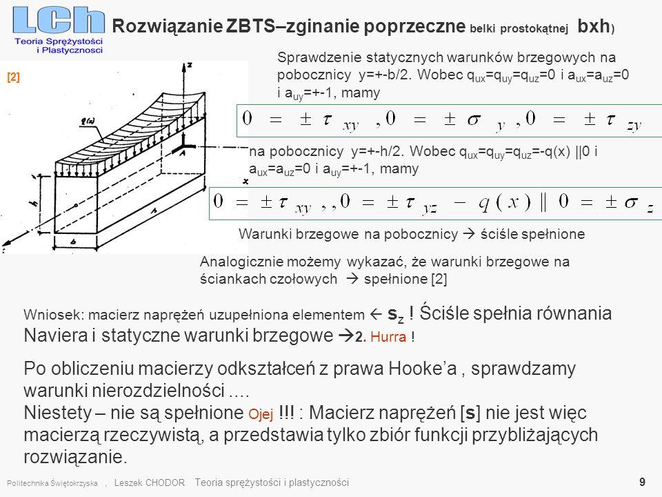 Rozwiązanie ZBTS–zginanie poprzeczne belki prostokątnej bxh)