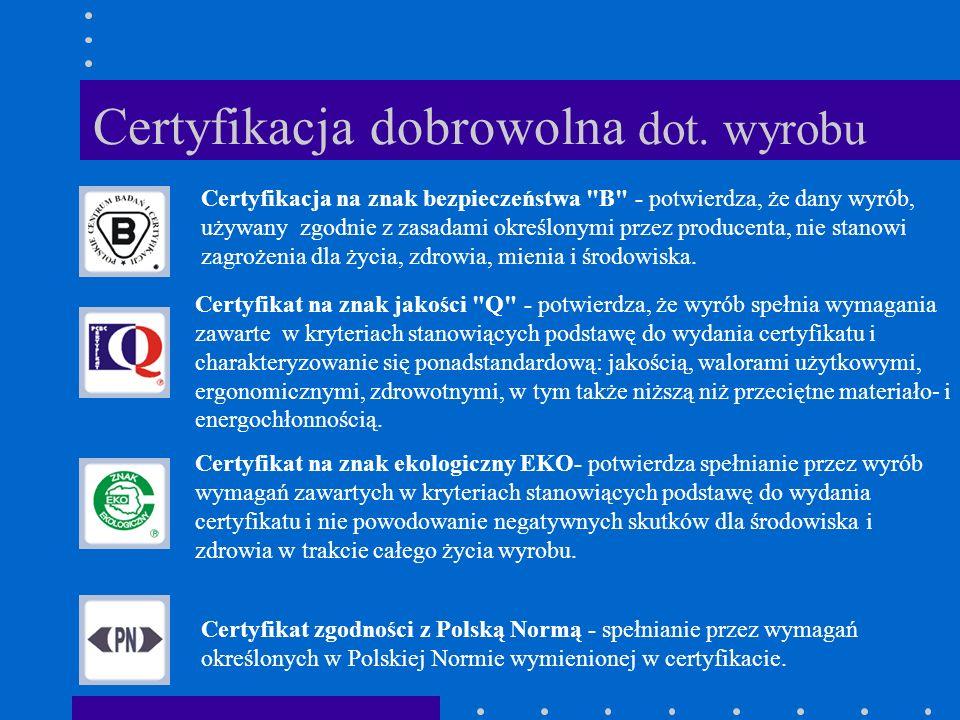 Certyfikacja dobrowolna dot. wyrobu
