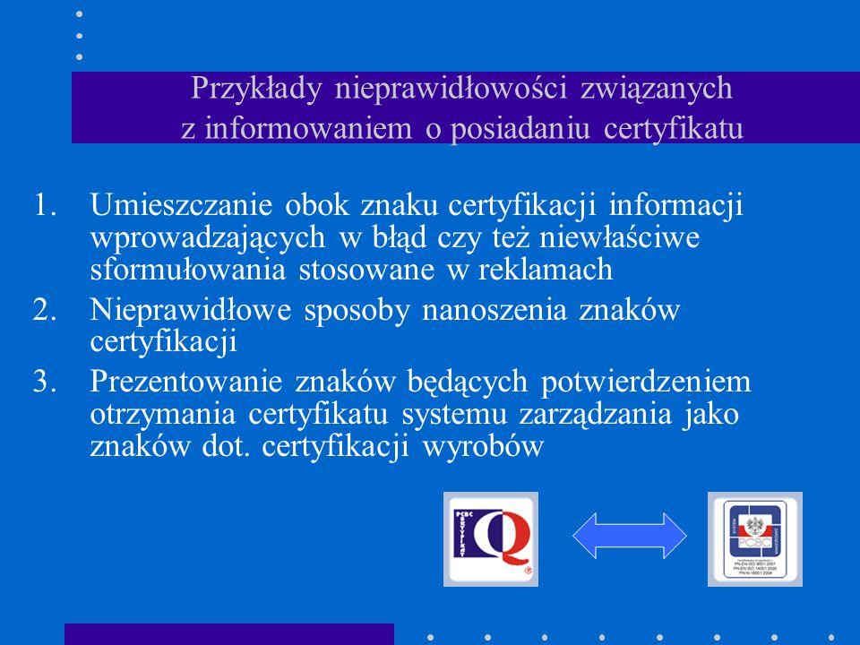 Nieprawidłowe sposoby nanoszenia znaków certyfikacji