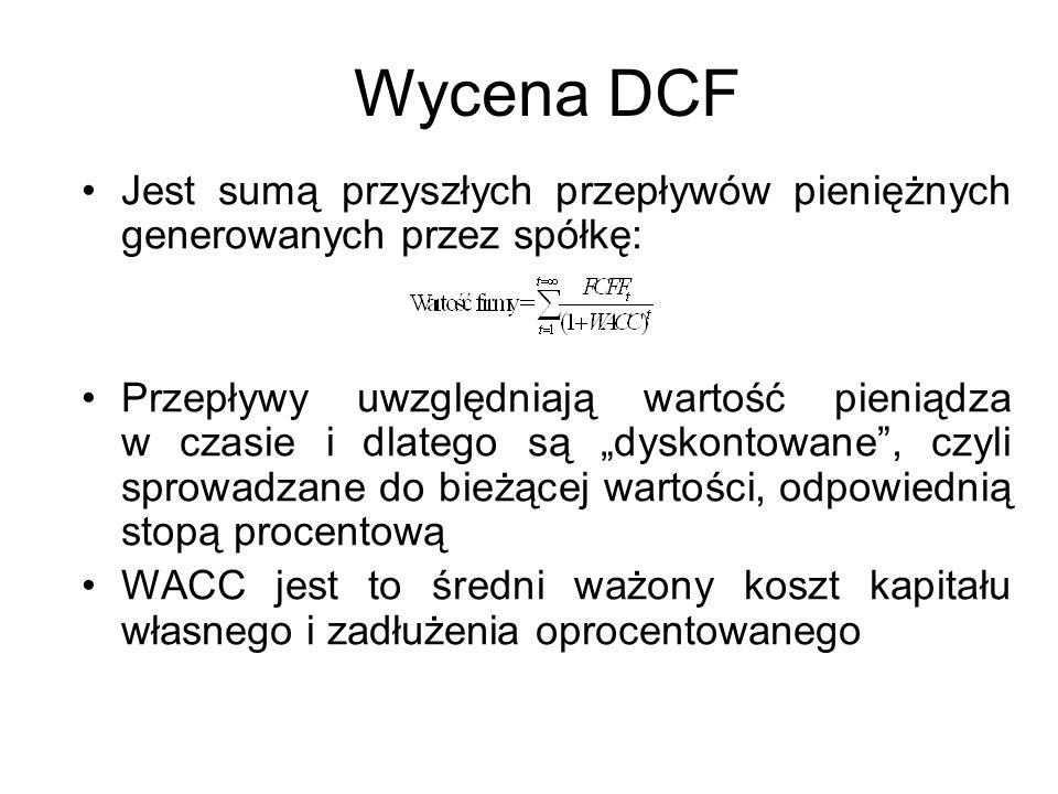 Wycena DCF Jest sumą przyszłych przepływów pieniężnych generowanych przez spółkę: