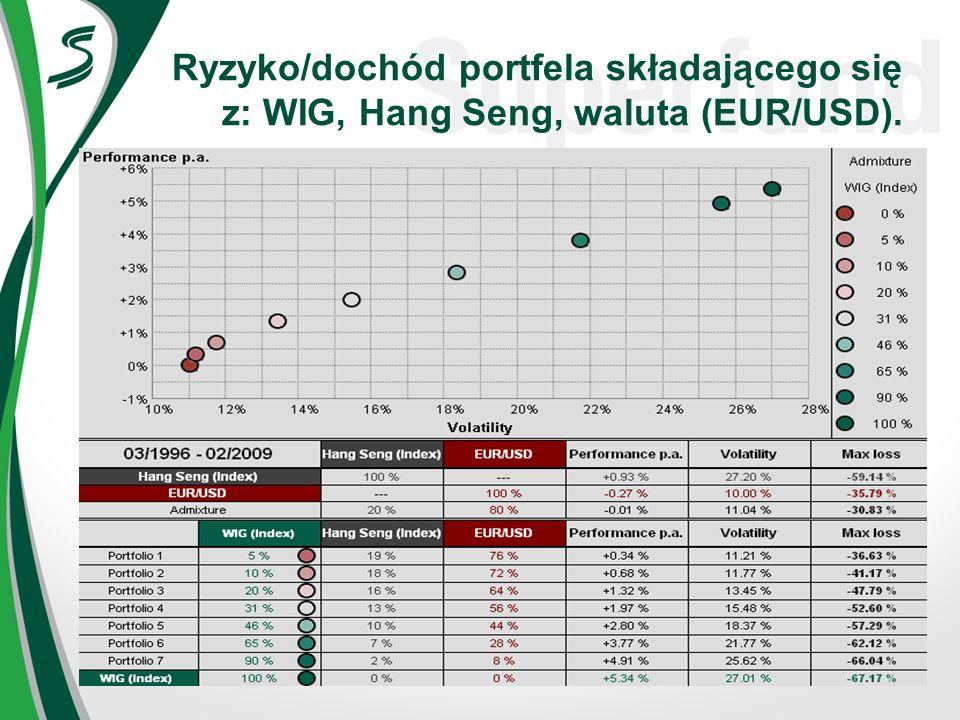 Ryzyko/dochód portfela składającego się z: WIG, Hang Seng, waluta (EUR/USD).