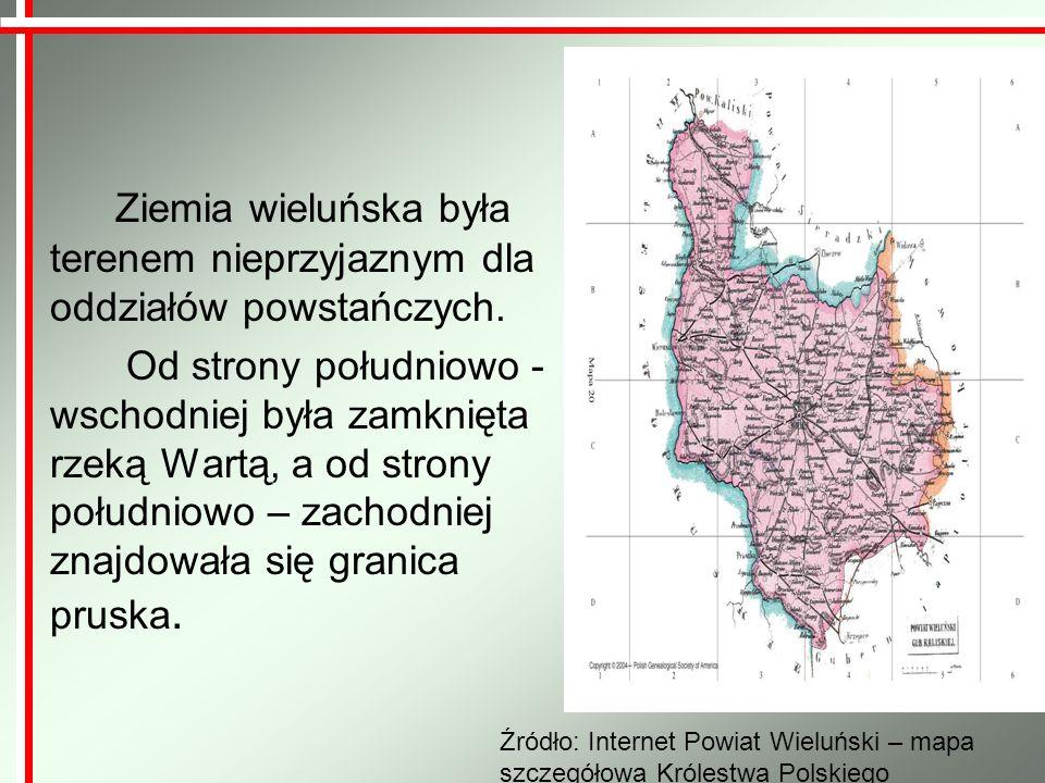 Ziemia wieluńska była terenem nieprzyjaznym dla oddziałów powstańczych.
