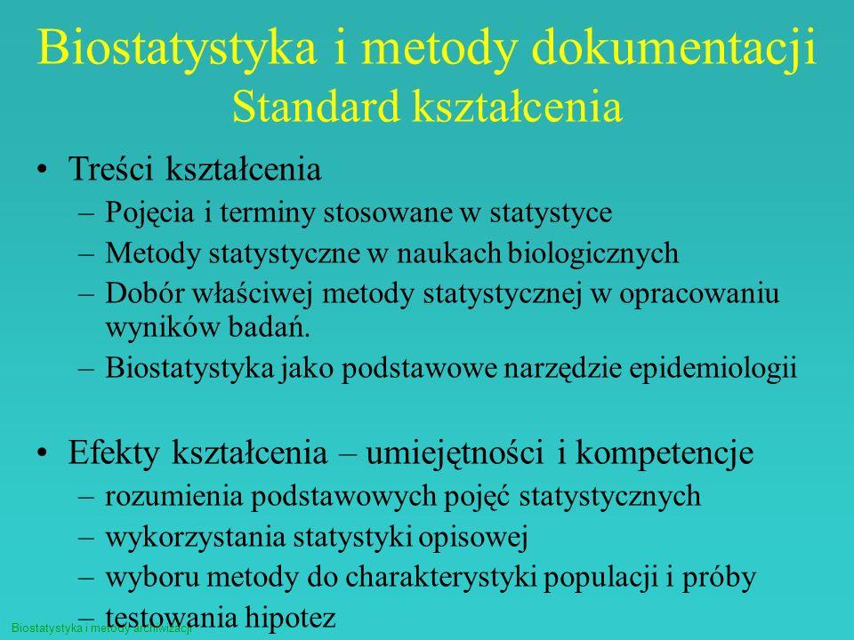 Biostatystyka i metody dokumentacji Standard kształcenia