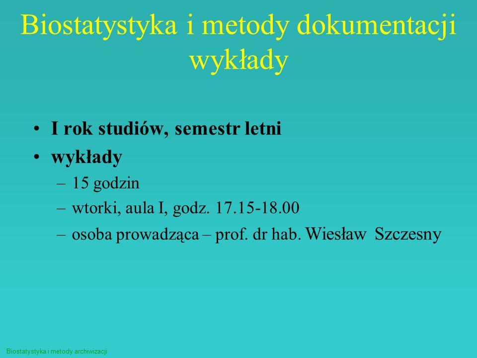 Biostatystyka i metody dokumentacji wykłady
