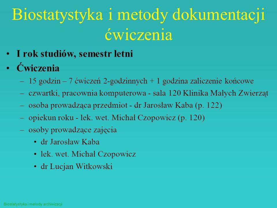 Biostatystyka i metody dokumentacji ćwiczenia