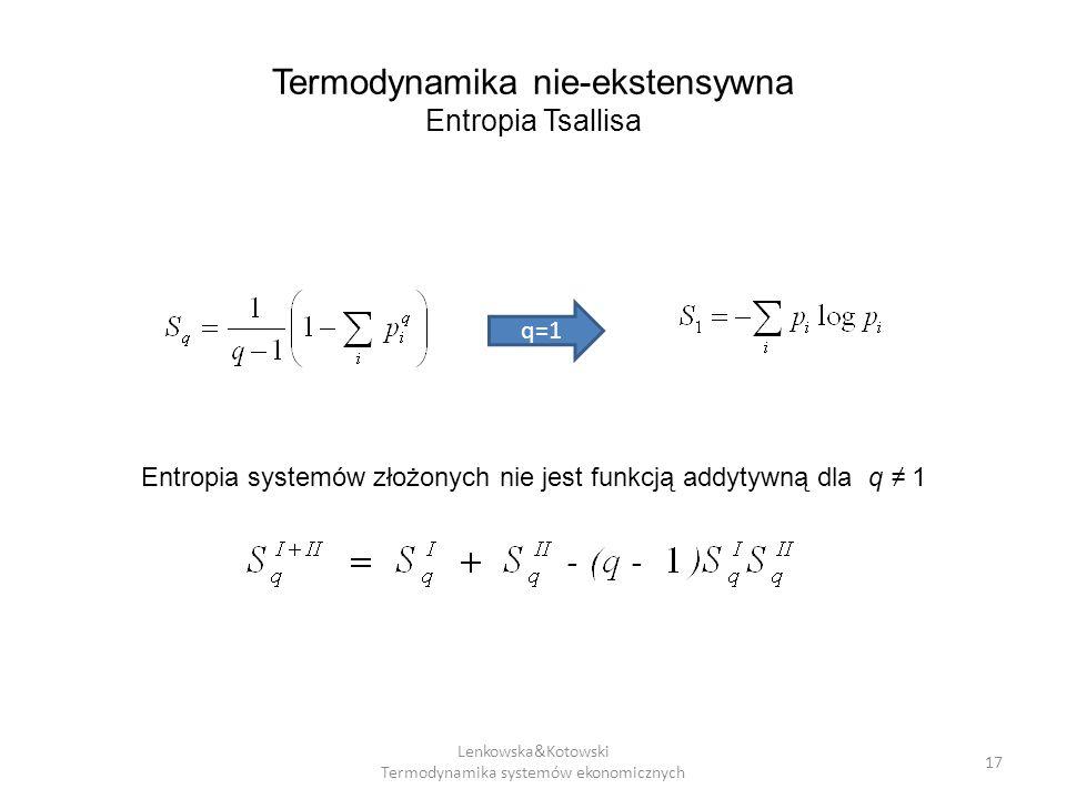 Termodynamika nie-ekstensywna Entropia Tsallisa