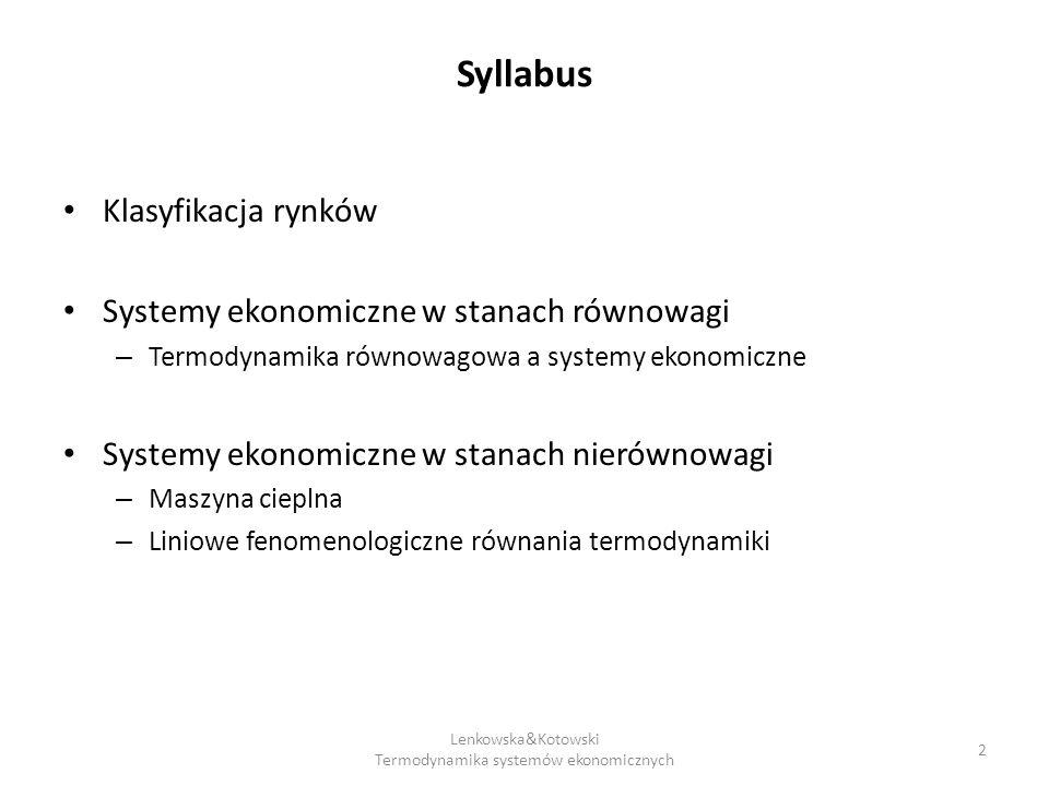 Lenkowska&Kotowski Termodynamika systemów ekonomicznych