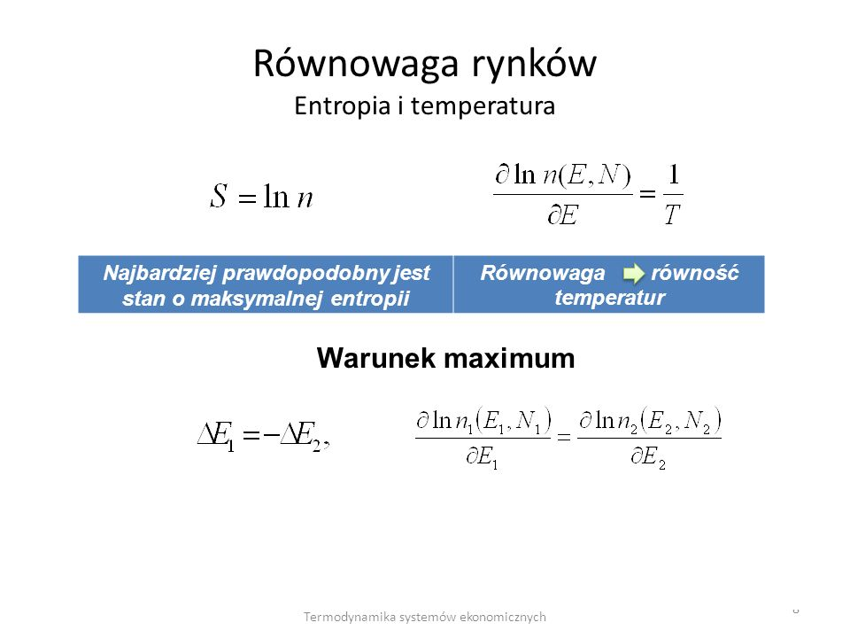 Równowaga rynków Entropia i temperatura
