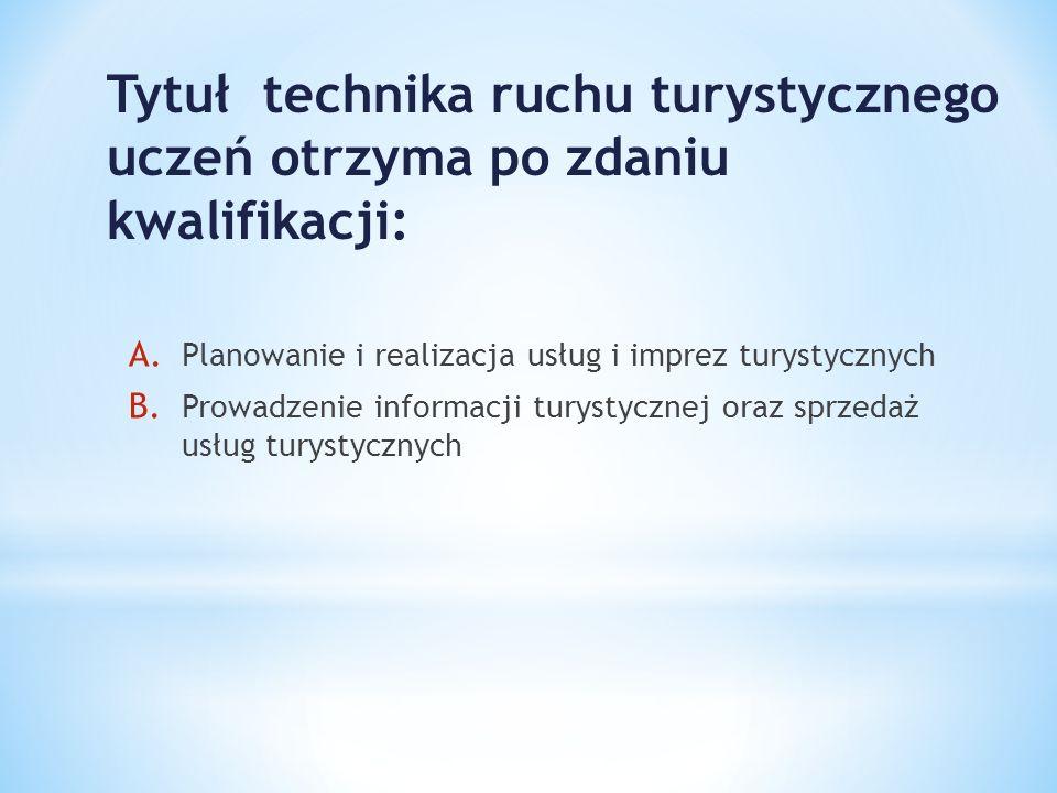 Tytuł technika ruchu turystycznego uczeń otrzyma po zdaniu kwalifikacji: