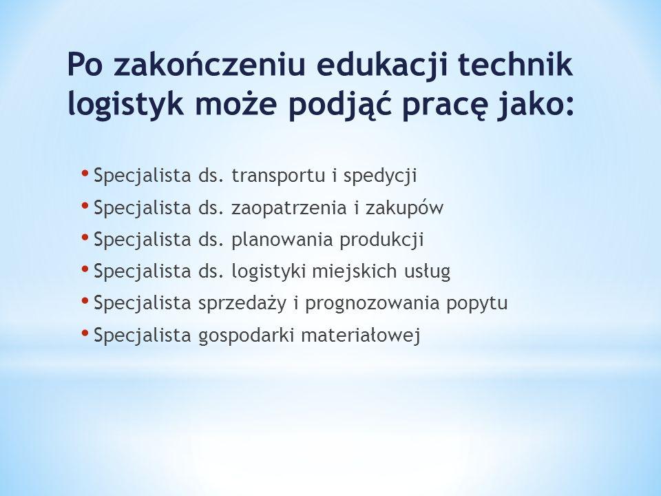 Po zakończeniu edukacji technik logistyk może podjąć pracę jako: