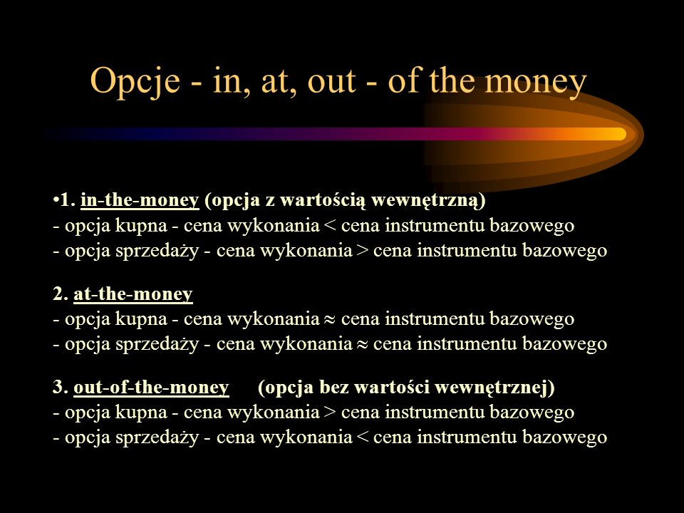 Opcje - in, at, out - of the money
