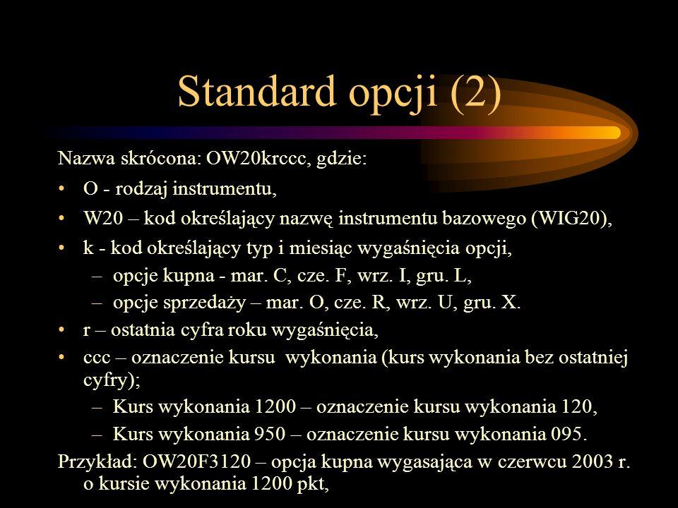 Standard opcji (2) Nazwa skrócona: OW20krccc, gdzie: