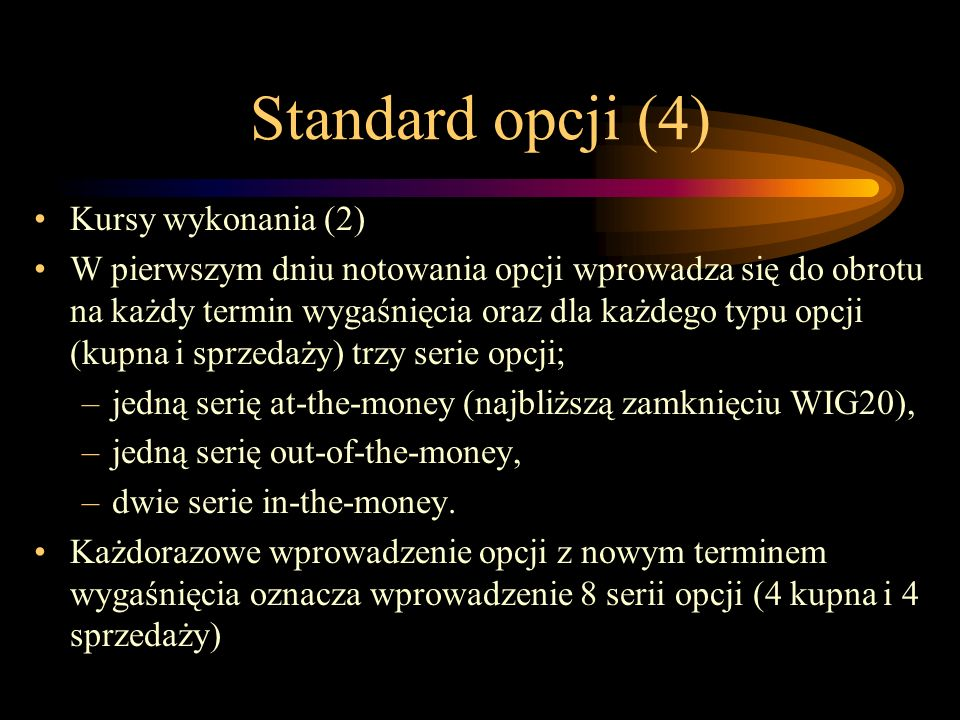 Standard opcji (4) Kursy wykonania (2)