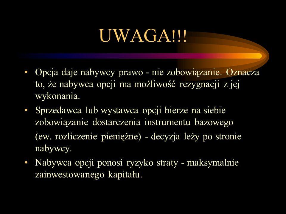 UWAGA!!! Opcja daje nabywcy prawo - nie zobowiązanie. Oznacza to, że nabywca opcji ma możliwość rezygnacji z jej wykonania.