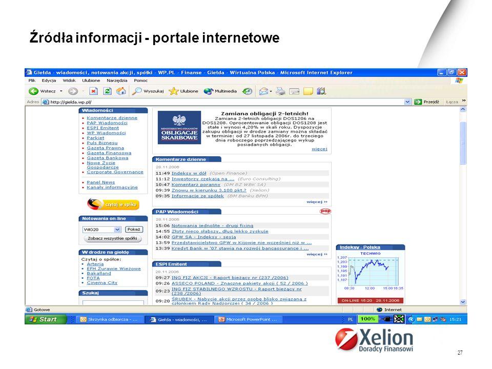 Źródła informacji - portale internetowe